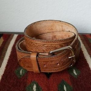 Vintage Tooled Brown Leather Belt - Size XL